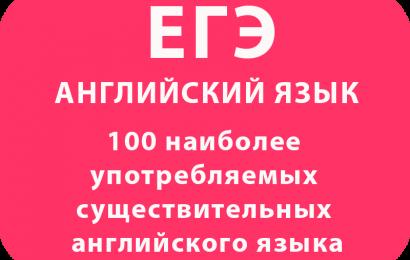 100 наиболее употребляемых существительных английского языка