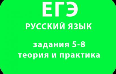 ЕГЭ по русскому языку задания 5-8 теория и практика