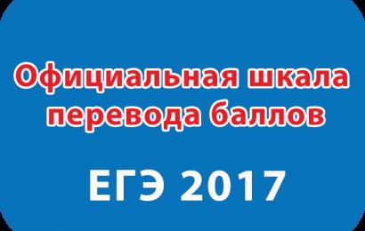 Официальная шкала перевода баллов ЕГЭ 2017 от Рособрнадзора