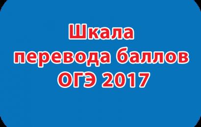 Шкала перевода баллов ОГЭ 2017