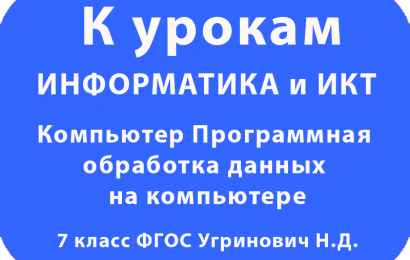 Компьютер Программная обработка данных на компьютере 7 класс ФГОС Угринович