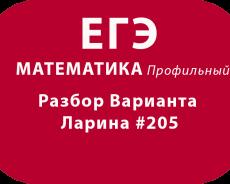 Разбор Варианта ЕГЭ по математике профильный Ларина #205
