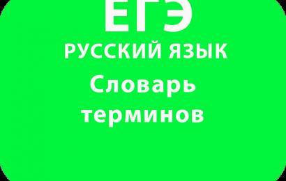 Словарь терминов по русскому языку ЕГЭ