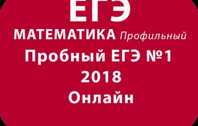 Пробный ЕГЭ 2018 по профильной математике №1 Онлайн