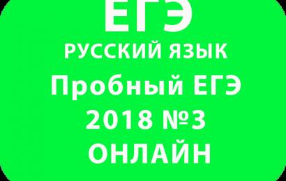 Пробный ЕГЭ 2018 по русскому языку №3 Онлайн