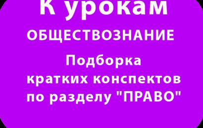 """Подборка кратких конспектов по разделу """"ПРАВО"""""""