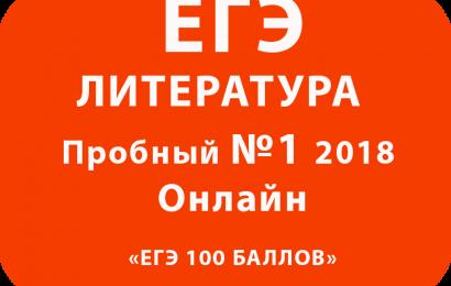 Пробный ЕГЭ 2018 по литературе №1  Онлайн