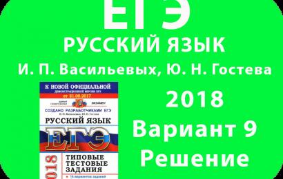 ЕГЭ 2018 Русский язык Вариант 9 решение Васильевых, Гостева