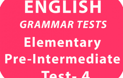 English Elementary/Pre-Intermediate Test 4 online