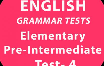 English Elementary/Pre-Intermediate Test 4 online