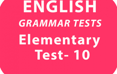 English Grammar Tests Elementary Test 10 online