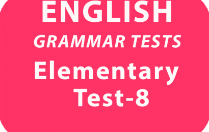 English Grammar Test Elementary Test 8 online