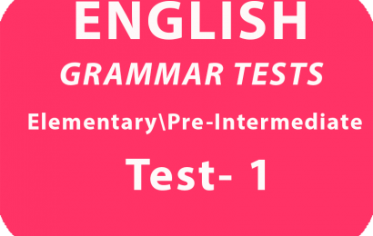 English Grammar Test Elementary/ Pre-Intermidiate* Test 1 online