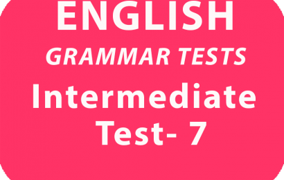 English Grammar Tests Intermediate Test 7 online