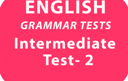 English Grammar Test Intermediate Test 2 online