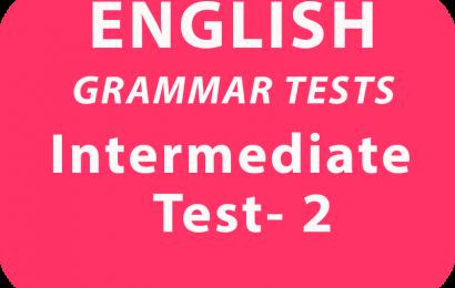 English Grammar Test Intermediate Test 2 online
