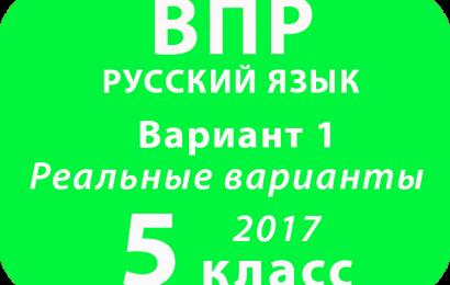 ВПР 2017 г. Русский язык. 5 класс. Вариант 1 с ответами