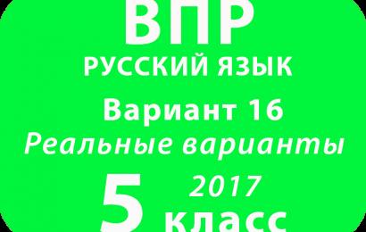 ВПР 2017 г. Русский язык. 5 класс. Вариант 16 с ответами
