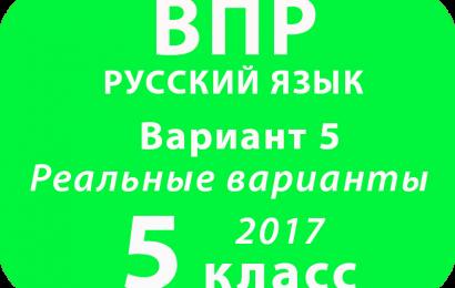 ВПР 2017 г. Русский язык. 5 класс. Вариант 5 с ответами