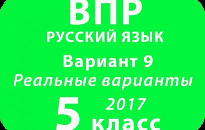ВПР 2017 г. Русский язык. 5 класс. Вариант 9 с ответами