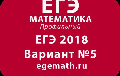 ЕГЭ 2018 по математике профильный вариант №5 egemath.ru
