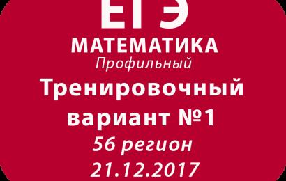 Тренировочный вариант №1 ЕГЭ по математике профиль 56 регион