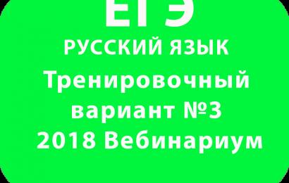 ЕГЭ РУССКИЙ ЯЗЫК 2018 Тренировочный вариант №3 Вебинариум