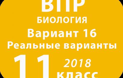 ВПР 2018 г. Биология. 11 класс. Вариант 16 с ответами