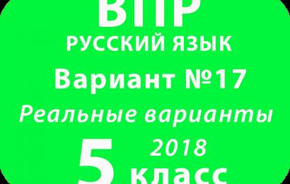 ВПР 2018 Русский язык. 5 класс. Вариант 17