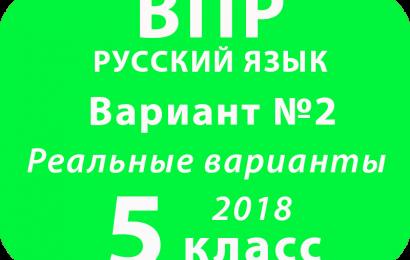 ВПР 2018 Русский язык. 5 класс. Вариант 2 с ответами