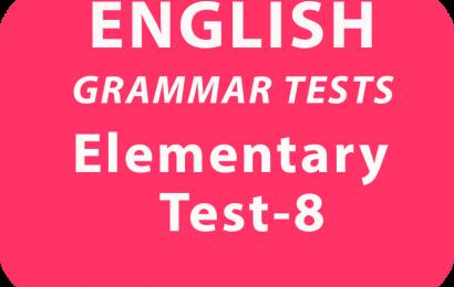 English Grammar Test Elementary Test 8 online