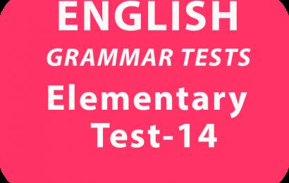 English Grammar Tests  Elementary test 14 online