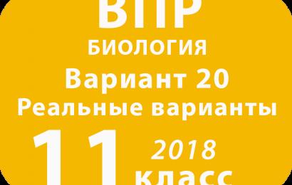 ВПР 2018 г. Биология. 11 класс. Вариант 20 с ответами